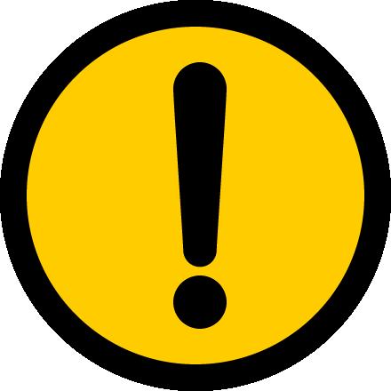 危険・注意警告(ビックリマーク)の標識イラストアイコン<黄色:丸型>