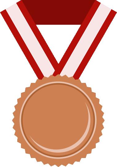 銅メダルのフラットイラスト