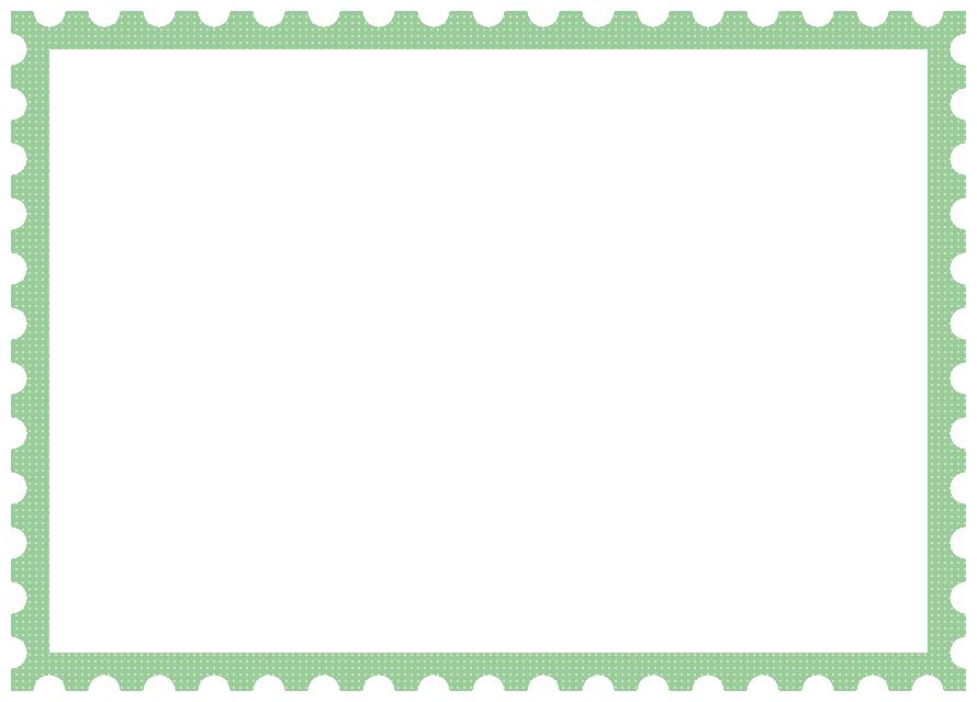 郵便切手風フレーム飾り枠イラスト<ドット柄:緑色>(W870×H620px)
