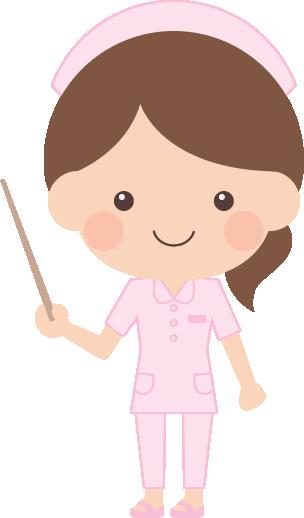 指示棒(指し棒)で説明する看護師(看護婦・ナース)の女性イラスト<全身>