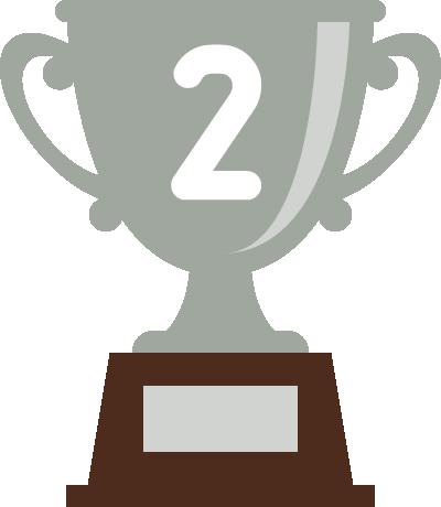 トロフィー(優勝カップ)のフラットイラスト<ランキング2位>