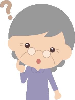 疑問・質問を考えるお婆さん(高齢者・シニア)のイラスト<上半身>