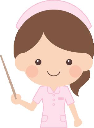 指示棒(指し棒)で説明する看護師(看護婦・ナース)の女性イラスト<上半身>