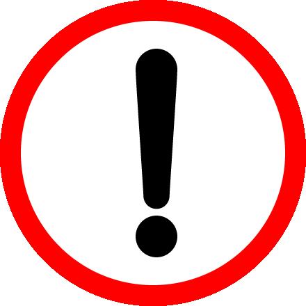 危険・注意警告(ビックリマーク)の標識イラストアイコン<赤色:丸型>