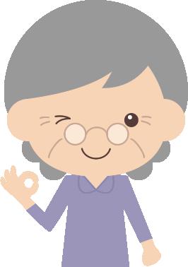 Okオッケーポーズをするお婆さん高齢者シニアのイラスト