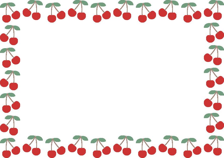 さくらんぼ(チェリー)のフレーム飾り枠イラスト(葉っぱ付き)