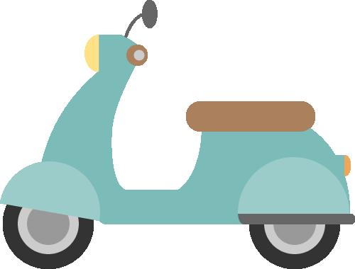 レトロなスクーター(原付バイク)の挿絵イラスト<水色>