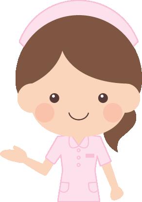 案内紹介ポーズをする看護師看護婦ナースの女性イラスト 無料