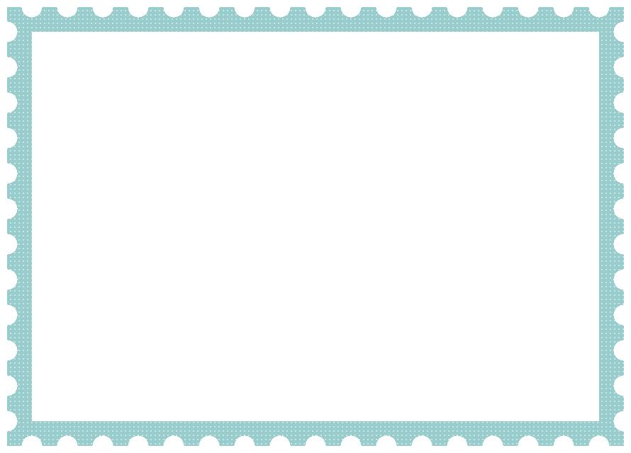 郵便切手風フレーム飾り枠イラスト<ドット柄:青色>(W870×H620px)