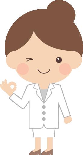 オッケーポーズをする医師・薬剤師の女性イラスト<全身>
