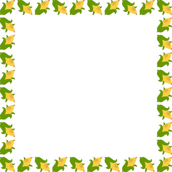 トウモロコシのフレーム飾り枠イラスト<正方形>