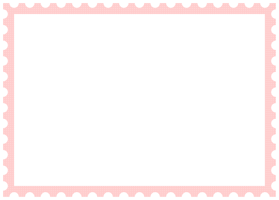 郵便切手風フレーム飾り枠イラスト<ドット柄:ピンク色>(W870×H620px)