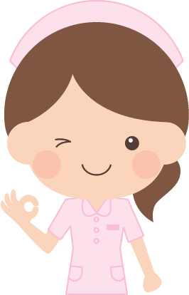 OK(オッケー)ポーズをする看護師(看護婦・ナース)の女性イラスト<上半身>