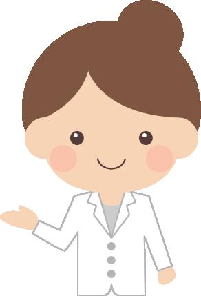 案内・紹介ポーズをする医師・薬剤師の女性イラスト<上半身>