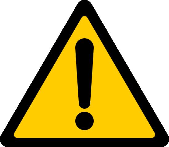 危険・注意警告(ビックリマーク)の標識イラストアイコン<黄色:三角形>