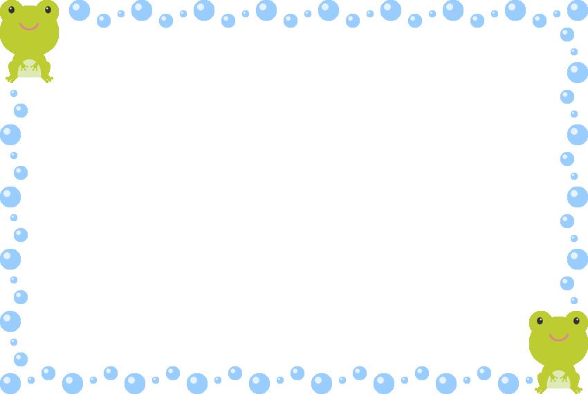 かわいいカエルと水滴(水玉)のフレーム飾り枠イラスト(W850×H570px)