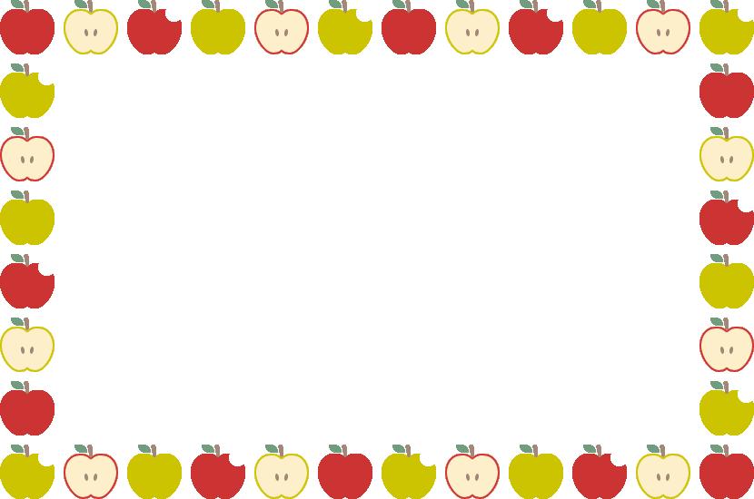 林檎(りんご・リンゴ)のフレーム飾り枠イラスト(W830×H550px)