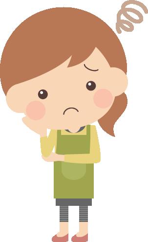 悩み・不安に困惑する主婦の女性イラスト<全身>