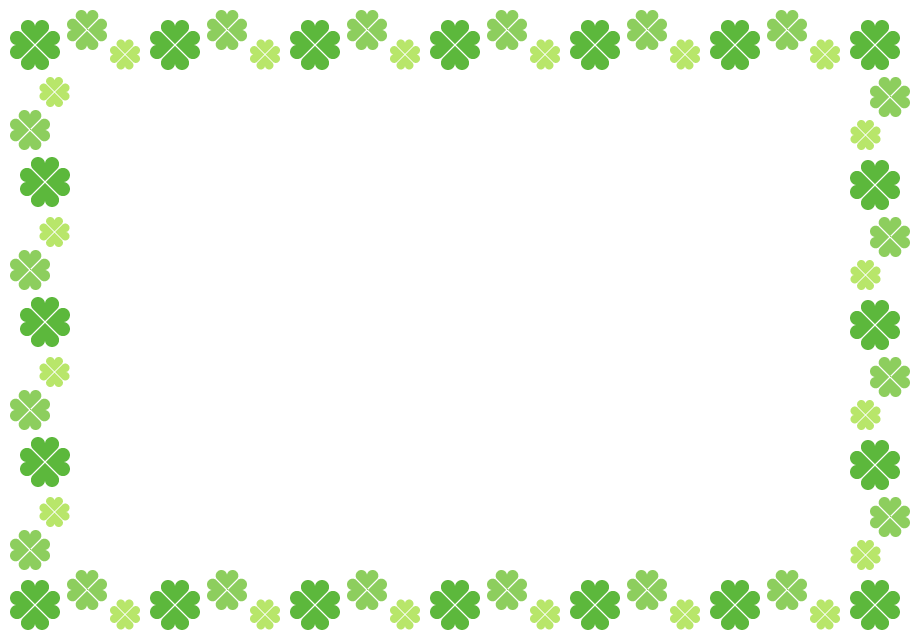 四つ葉のクローバーのフレーム飾り枠イラスト(W900×H620px)