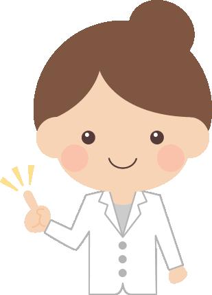 指差しポーズをする医師・薬剤師の女性イラスト<上半身>