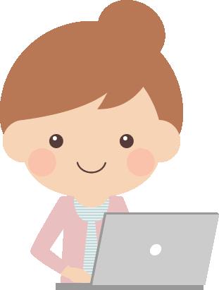 ノートパソコンをする若い女の子のイラスト(キーボードタイピング)
