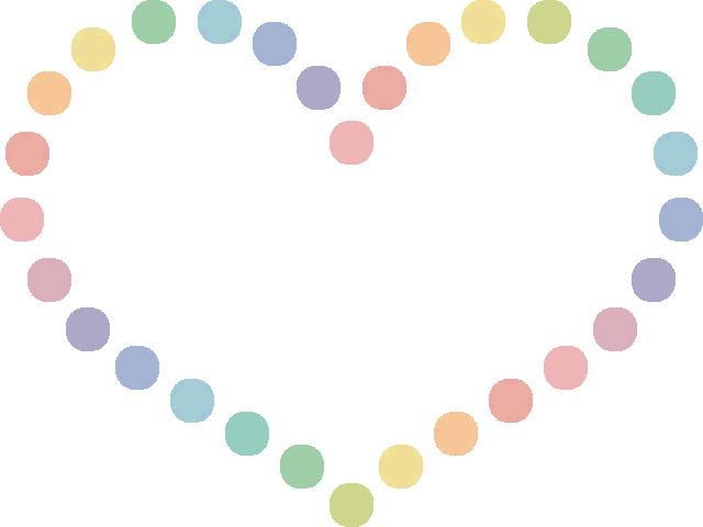 ハート型の手描き風ドット柄(水玉模様)フレーム枠イラスト(W640×H480px)
