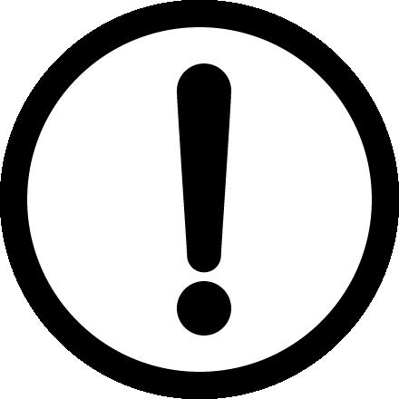 危険・注意警告(ビックリマーク)の標識イラストアイコン<白黒:丸型>
