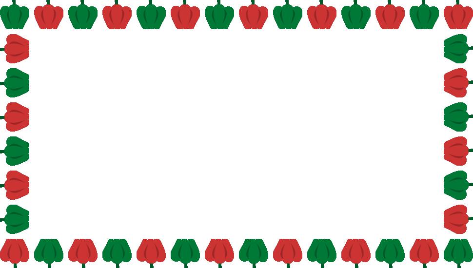 ピーマンのフレーム飾り枠イラスト<長方形>
