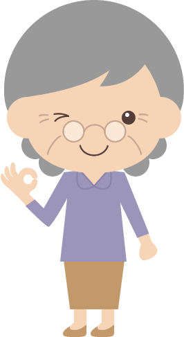 OK(オッケー)ポーズをするお婆さん(高齢者・シニア)のイラスト<全身>