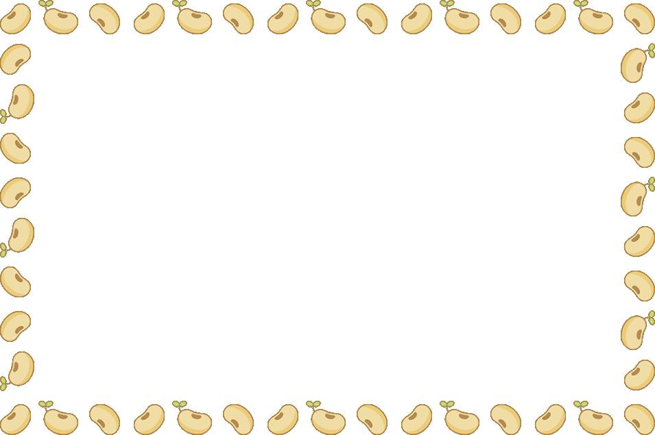 大豆のフレーム飾り枠イラスト(W955×H635px)