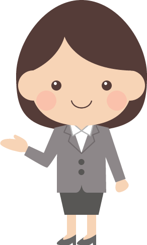 案内・紹介ポーズをするOL(女子社員)のイラスト<全身>