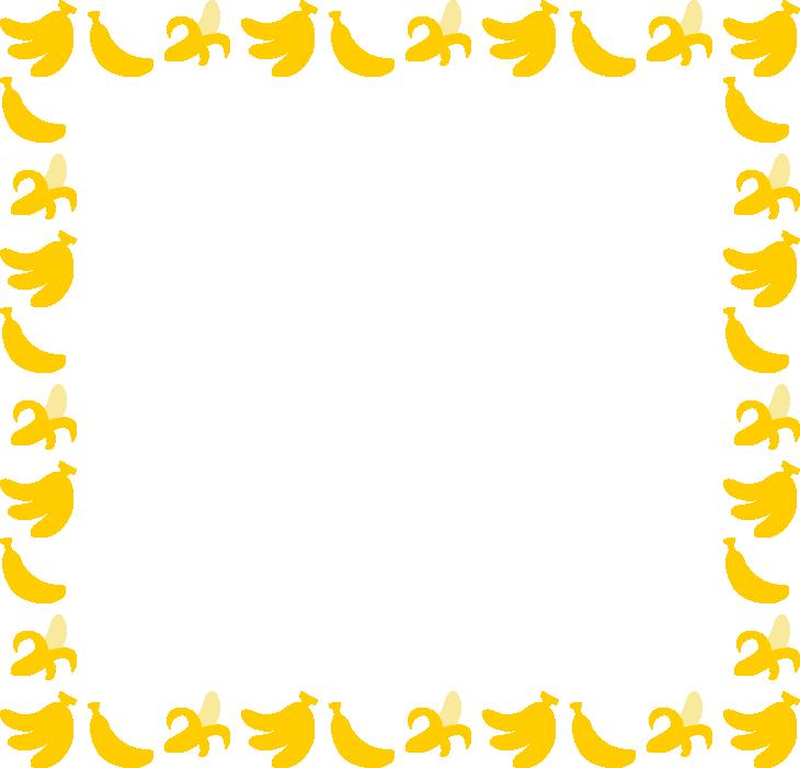 バナナのフレーム飾り枠イラスト(W730×H700px)