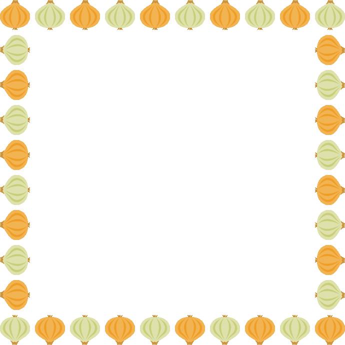 玉ねぎのフレーム飾り枠イラスト<正方形>