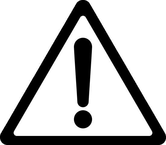 危険・注意警告(ビックリマーク)の標識イラストアイコン<白黒:三角形>