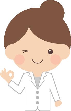 オッケーポーズをする医師・薬剤師の女性イラスト<上半身>
