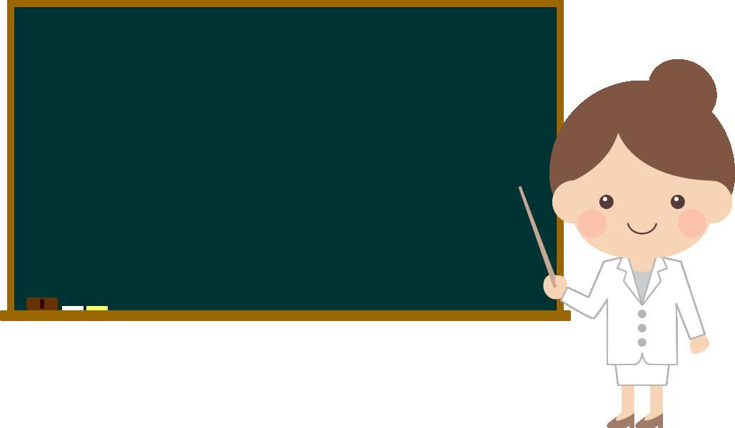 黒板で説明する医師・薬剤師の女性イラスト<全身>