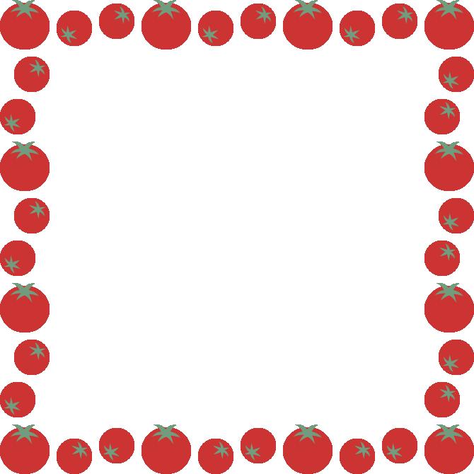 赤いプチトマトのフレーム飾り枠イラスト(正方形)