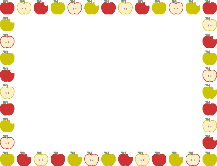 林檎(りんご・リンゴ)のフレーム飾り枠イラスト(W900×H690px)
