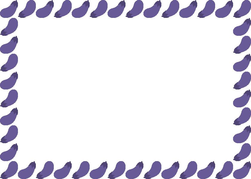 茄子(ナス・なすび)のフレーム飾り枠イラスト<長方形>