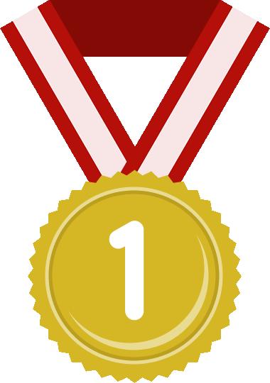 金メダル(1位)のフラットイラスト