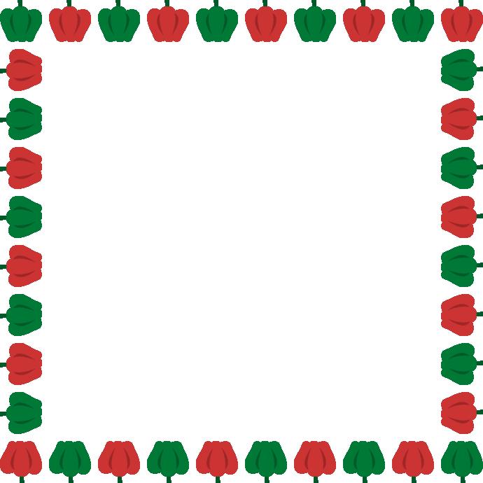 ピーマンのフレーム飾り枠イラスト<正方形>