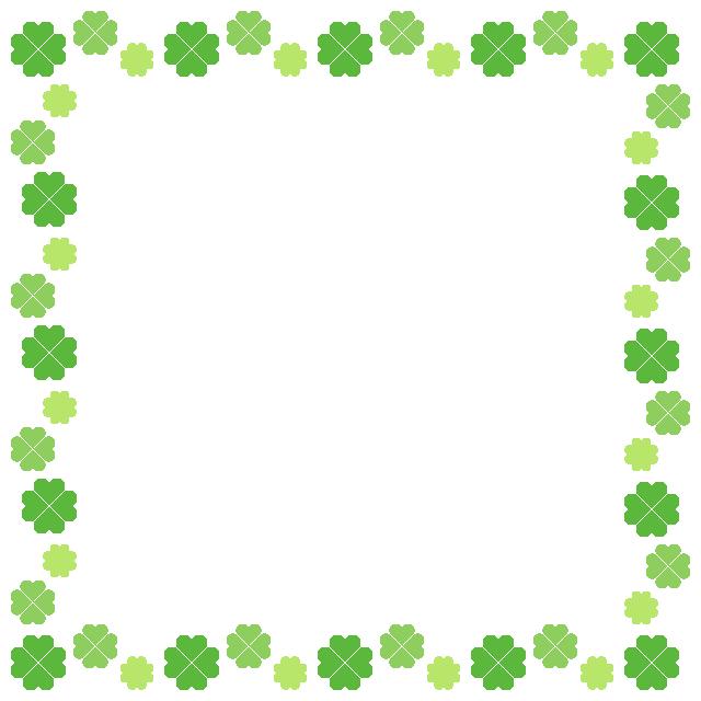 四つ葉のクローバーのフレーム飾り枠イラスト(W620×H620px)