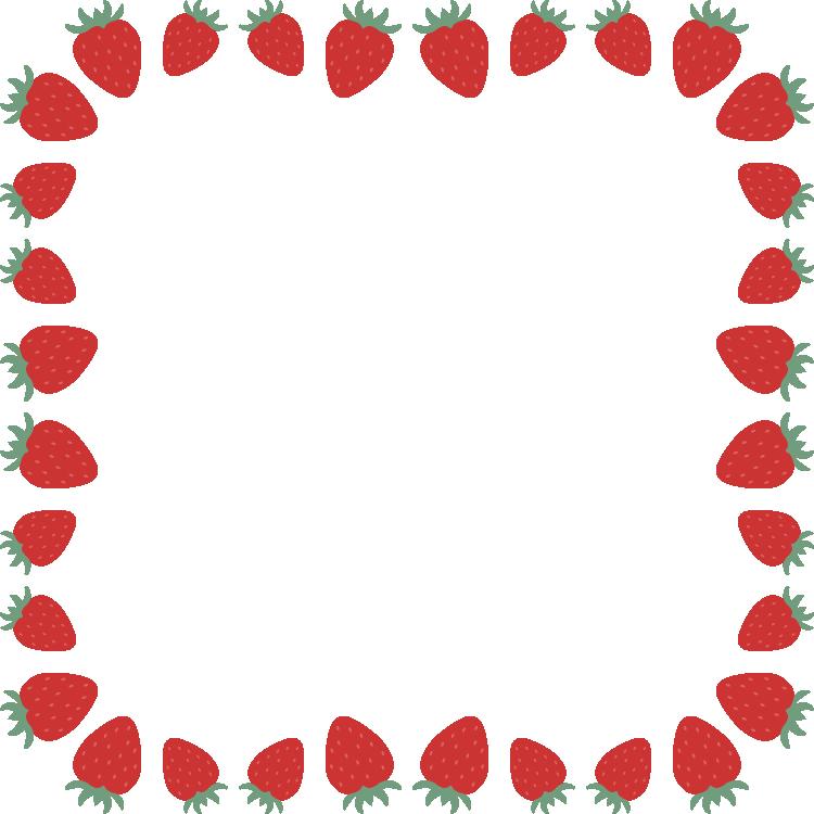 苺(いちご・イチゴ)のフレーム飾り枠イラスト(正方形)
