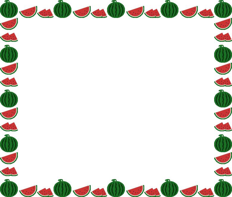 西瓜(すいか・スイカ)のフレーム飾り枠イラスト(W780×H660px)