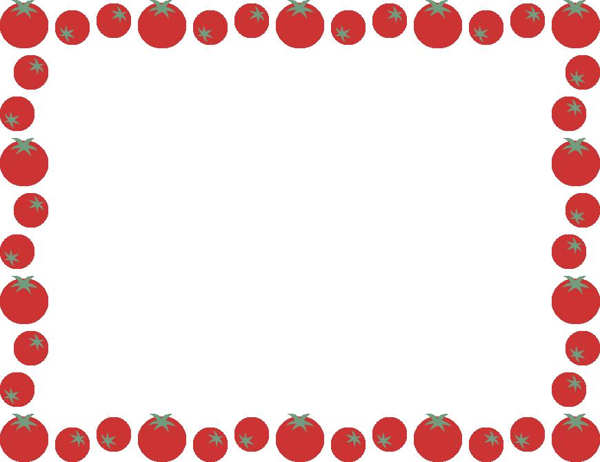 赤いプチトマトのフレーム飾り枠イラスト(長方形)
