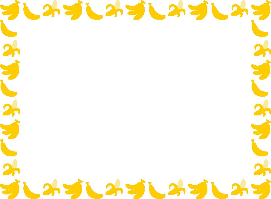 バナナのフレーム飾り枠イラスト(W950×H700px)