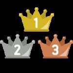 フラットな王冠イラスト<ランキング1位・2位・3位>