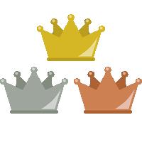 フラットな王冠イラスト<金・銀・銅>