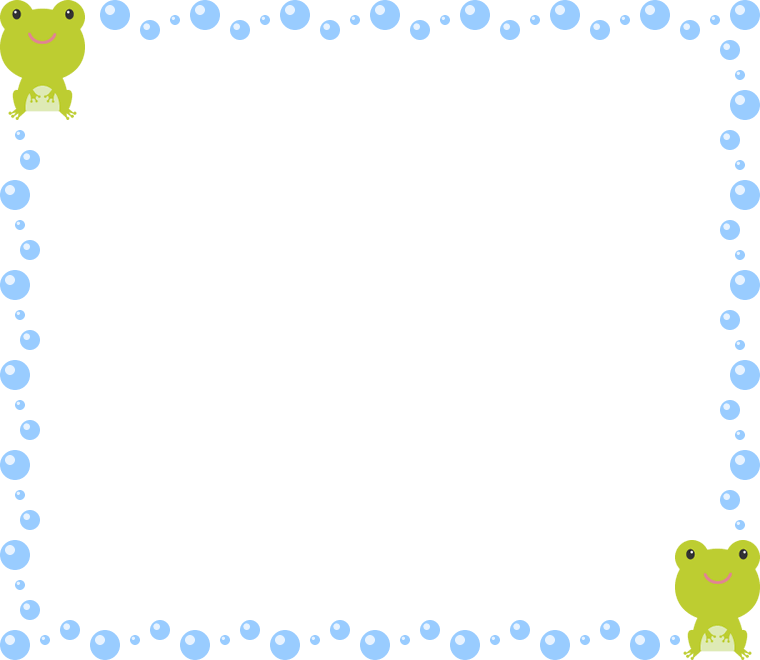 かわいいカエルと水滴(水玉)のフレーム飾り枠イラスト(W760×H660px)