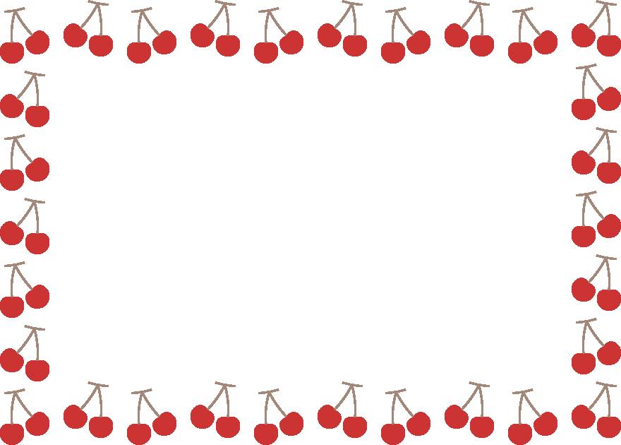 さくらんぼ(チェリー)のフレーム飾り枠イラスト